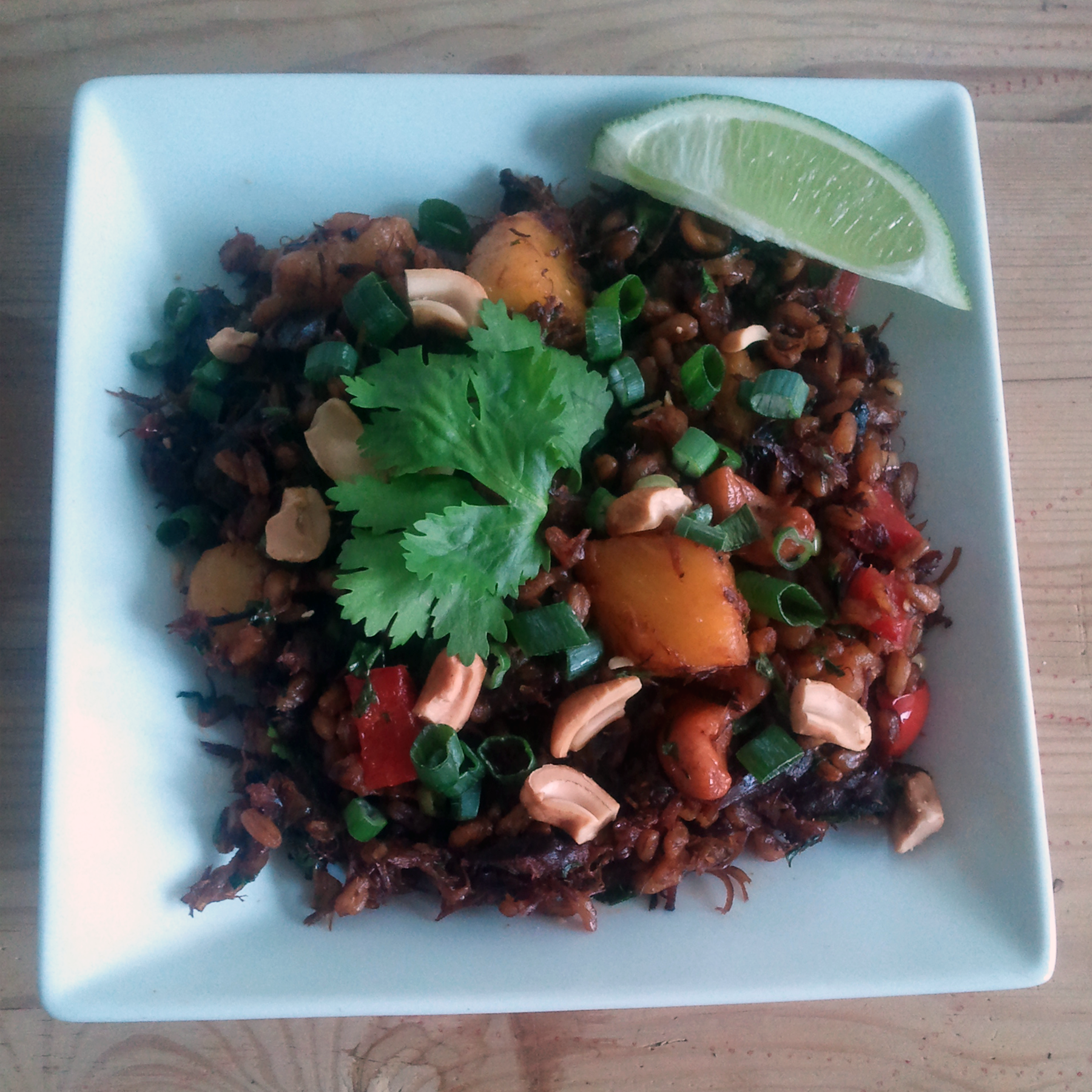 pineapple cashew fried farro
