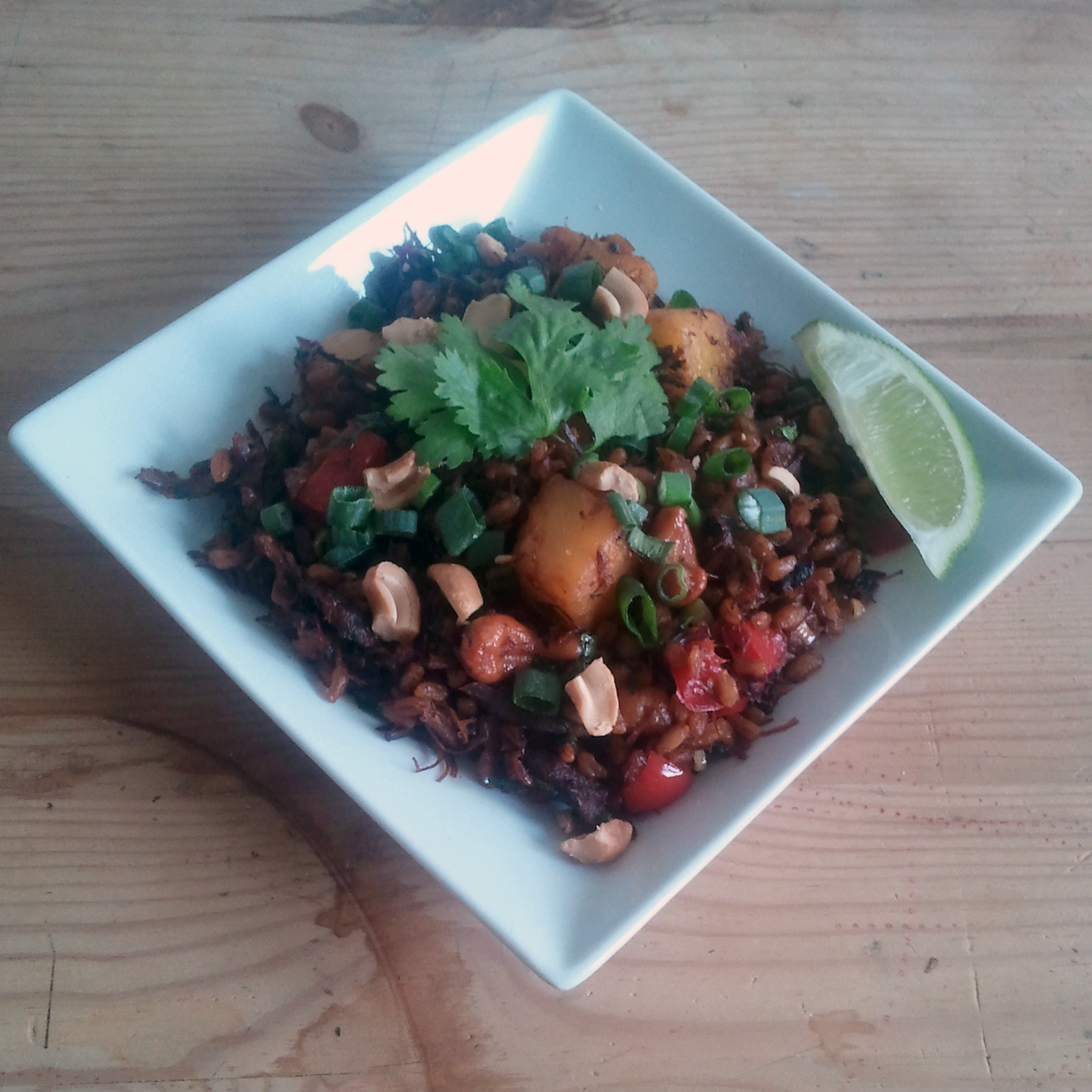 pineapple cashew fried farro 2