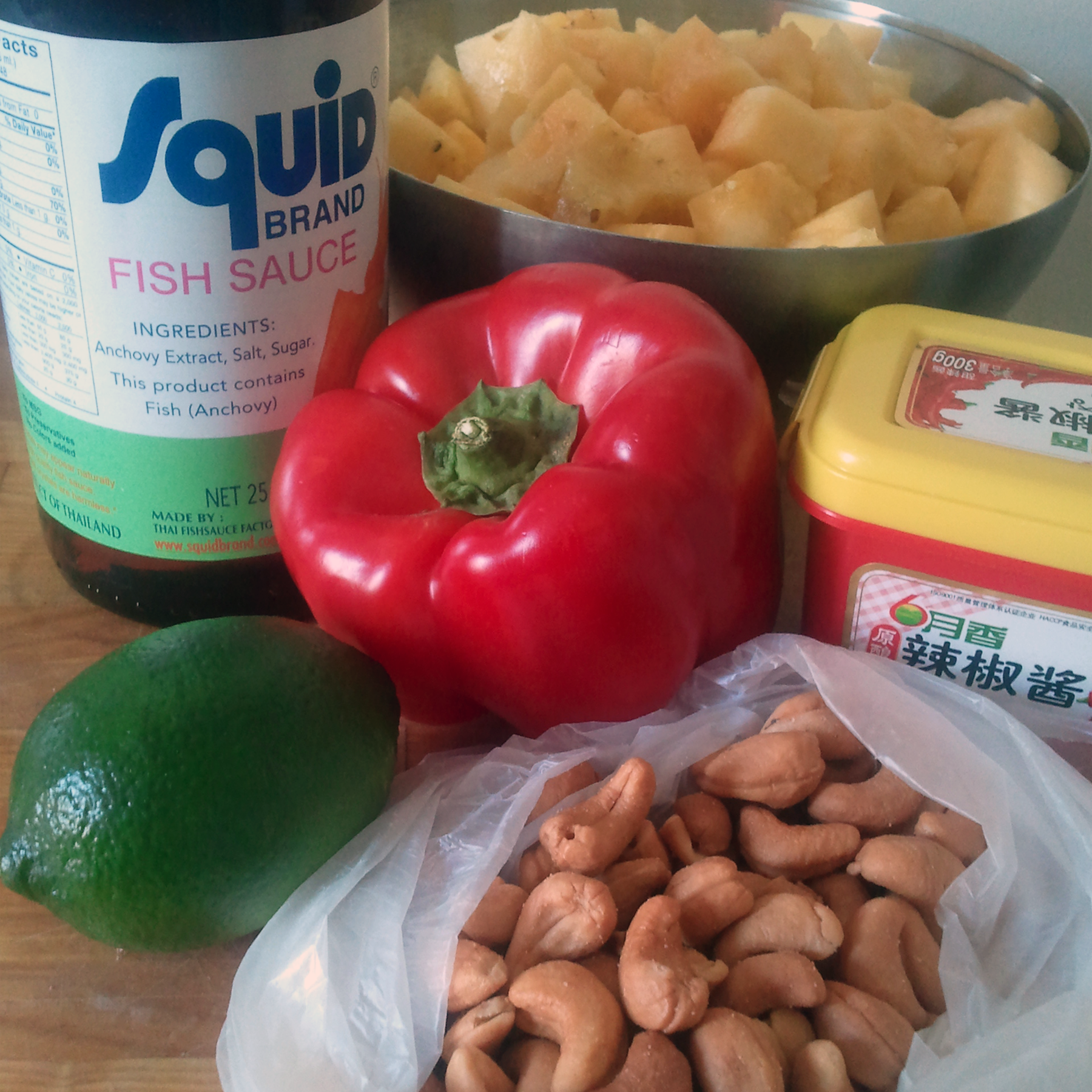 pineapple cashew fried farro ingredients